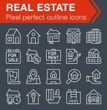 Sistema de la línea fina iconos de las propiedades inmobiliarias Imagen de archivo