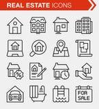 Sistema de la línea fina iconos de las propiedades inmobiliarias Fotos de archivo