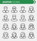 Sistema de la línea fina iconos del avatar Fotos de archivo
