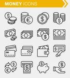 Sistema de la línea fina iconos del dinero Fotos de archivo