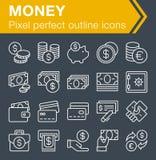 Sistema de la línea fina iconos del dinero Imagenes de archivo
