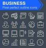Sistema de la línea fina iconos del negocio Foto de archivo libre de regalías