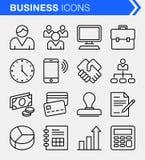 Sistema de la línea fina iconos del negocio Fotos de archivo