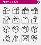 Sistema de la línea fina iconos del regalo Foto de archivo