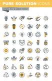 Sistema de la línea fina iconos del vector moderno de la ecología libre illustration