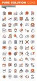 Sistema de la línea fina iconos del web de las herramientas básicas del negocio libre illustration
