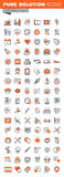 Sistema de la línea fina iconos del web de las instalaciones de la clínica y del hospital ilustración del vector