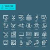 Sistema de la línea fina iconos del web para la educación en línea stock de ilustración