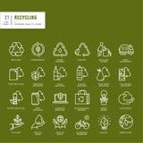 Sistema de la línea fina iconos del web para reciclar Imagen de archivo