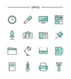 Sistema de la línea fina iconos planos de la oficina stock de ilustración