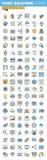 Sistema de la línea fina iconos planos del diseño de diseño, de desarrollo web y de seo