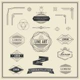 Sistema de la línea fina linear elementos del vintage retro del diseño del art déco Foto de archivo libre de regalías