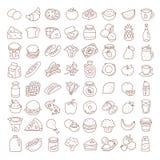 Sistema de la línea fina plana iconos de la comida Elementos del vector libre illustration