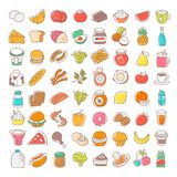 Sistema de la línea fina plana iconos de la comida Elementos del vector ilustración del vector