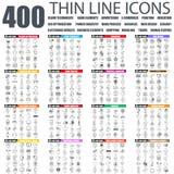 Sistema de la línea fina plana iconos del web del negocio stock de ilustración