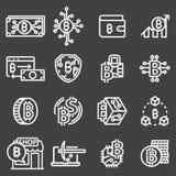 Sistema de la línea fina vector Bitcoin del movimiento e iconos de Cryptocurrency libre illustration