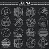 Sistema de la línea icono de la sauna Fotografía de archivo libre de regalías