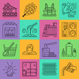 Sistema de la línea icono de la sauna Imagen de archivo
