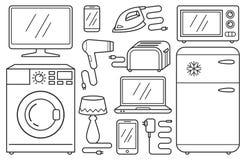 Sistema de la línea iconos - aparatos electrodomésticos, ayudas del hogar, dispositivos, electrodomésticos, pictogramas negros Imagen de archivo libre de regalías
