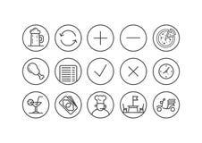 Sistema de la línea iconos del arte para el pub o la pizzería en un marco redondo libre illustration
