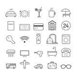 Sistema de la línea iconos del vector del hotel para el diseño web y la decoración Fotografía de archivo libre de regalías