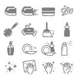 Sistema de la línea iconos del vector de la limpieza Cepillo, espray, burbujas, superficie limpia, jabón y más ilustración del vector