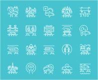 Sistema de la línea iconos de Hyperloop Imagenes de archivo