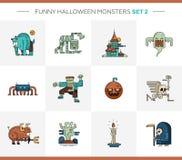 Sistema de la línea iconos modernos de Halloween del diseño plano y Fotografía de archivo