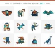 Sistema de la línea iconos modernos de Halloween del diseño plano y Imagen de archivo libre de regalías
