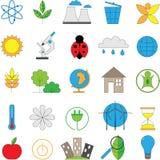 Sistema de la línea iconos modernos del color para la energía verde Imagen de archivo libre de regalías