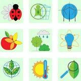 Sistema de la línea iconos modernos del color para la energía verde Imagen de archivo