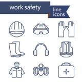 Sistema de la línea iconos para el trabajo de la seguridad libre illustration