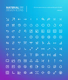 Sistema de la línea material iconos del diseño Imagen de archivo