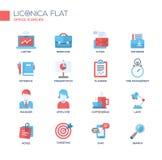 Sistema de la línea moderna iconos y pictogramas planos de la oficina del diseño Fotografía de archivo