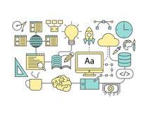 Sistema de la línea plana icono y concepto de diseño infographic creativos Fotografía de archivo libre de regalías
