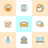 Sistema de la línea plana iconos de hombres de negocios de organización, gestión de recursos humanos, desarrollo de la compañía,  Imagen de archivo