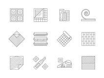 Sistema de la línea plana iconos de los materiales de construcción Imágenes de archivo libres de regalías