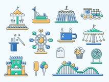 Sistema de la línea plana iconos del parque de atracciones del diseño Imágenes de archivo libres de regalías