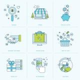 Sistema de la línea plana iconos para las compras en línea