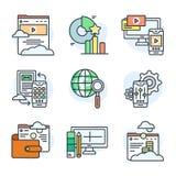Sistema de la línea plana iconos sobre datos digitales y redes Fotos de archivo