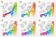 Sistema de la línea plantillas infographic del gráfico para las cartas y los diagramas Fotos de archivo
