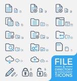Sistema de la línea responsiva diseño de la gestión del fichero y de directorio de los iconos Imágenes de archivo libres de regalías