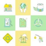 Sistema de la línea símbolos planos de la ecología Fotografía de archivo libre de regalías
