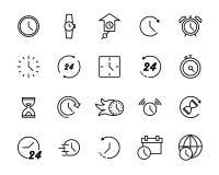 Sistema de la línea simple iconos del vector del tiempo stock de ilustración