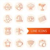 Sistema de la línea turismo y viaje de los iconos Mano drenada Imagen de archivo