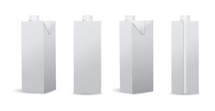 Sistema de la leche/de Juice Carton Vector Illustrations Mockup en blanco Imagen de archivo libre de regalías