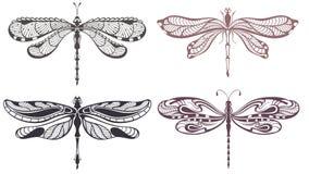 Sistema de la libélula del tatuaje ilustración del vector