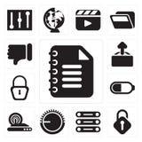Sistema de la libreta, desbloqueado, base de datos, control de volumen, radio internacional stock de ilustración