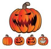 Sistema de la linterna de Jack O de la calabaza del día de fiesta de Halloween Foto de archivo libre de regalías