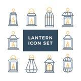 Sistema de la linterna del vintage del Ramadán Lámpara o luz antigua islámica, línea arte tradicional musulmán Ejemplo plano del  ilustración del vector